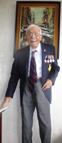 Walter on his 100th birthday in 2015, with WW2 service medals