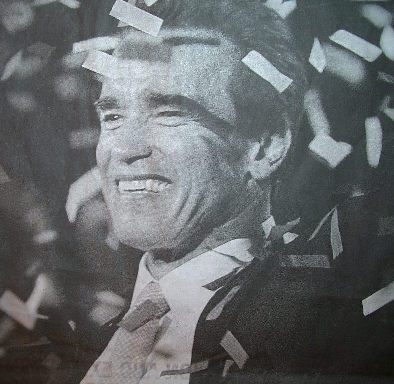 Arnie the politician, with a complete dental makeover, teeth all straight, white and no gaps