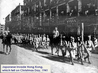Japanese soldiers strut through the streets of a conquered Hong Kong