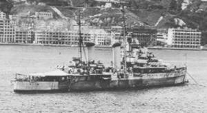 HMS Swiftsure in Hong Kong Harbour, August 1945